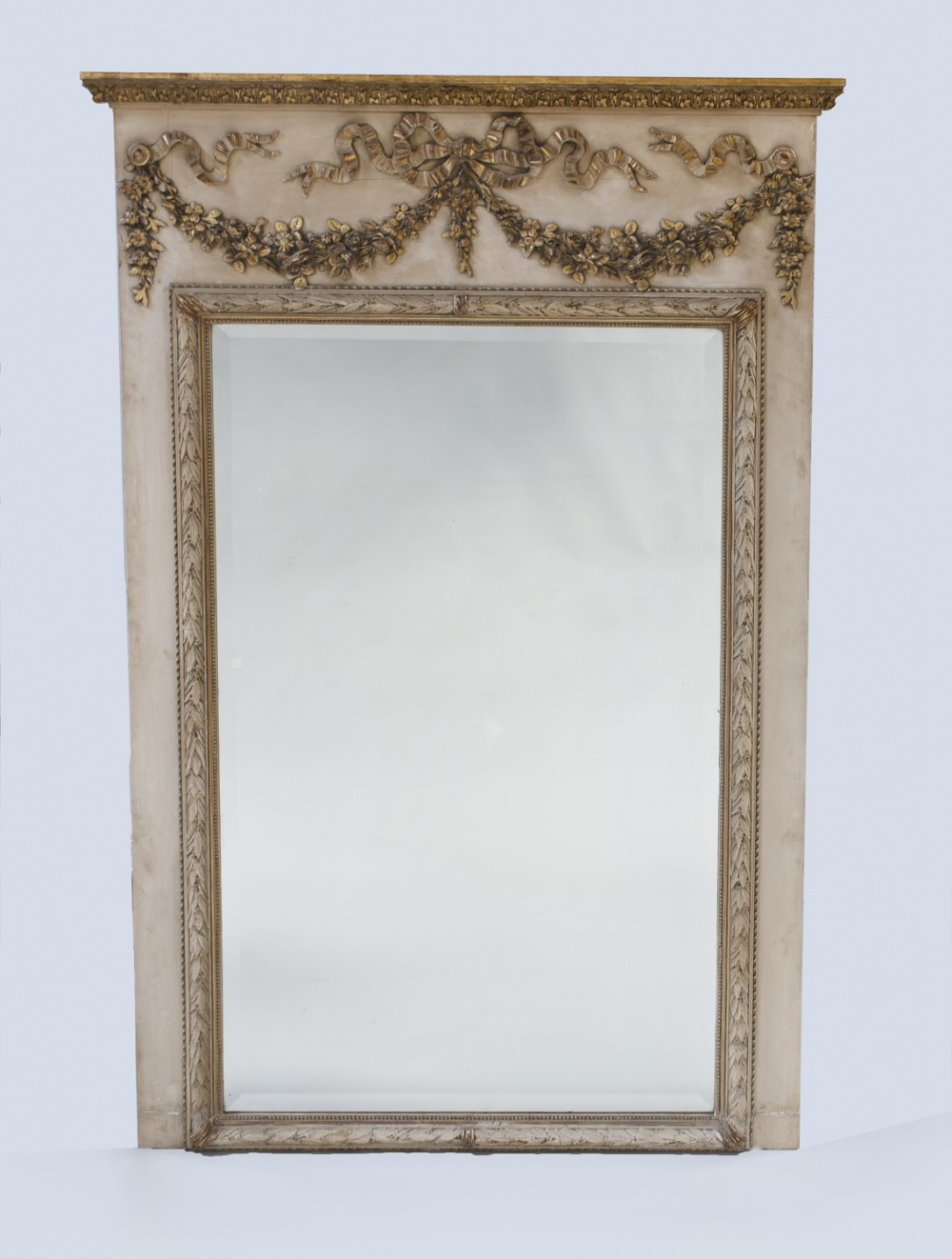 french painted and gilt large trumeau overmantle mirror