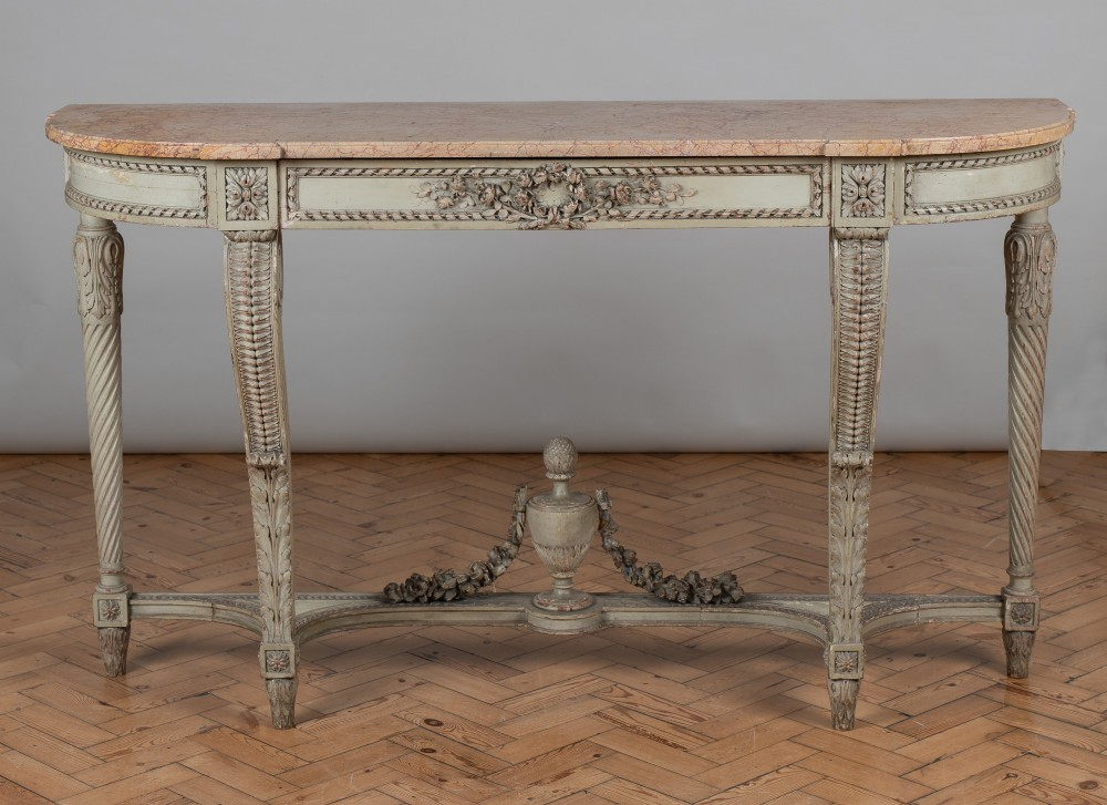 a stunning 19th century large french louis xv1 style painted carved wood console table with a marble top