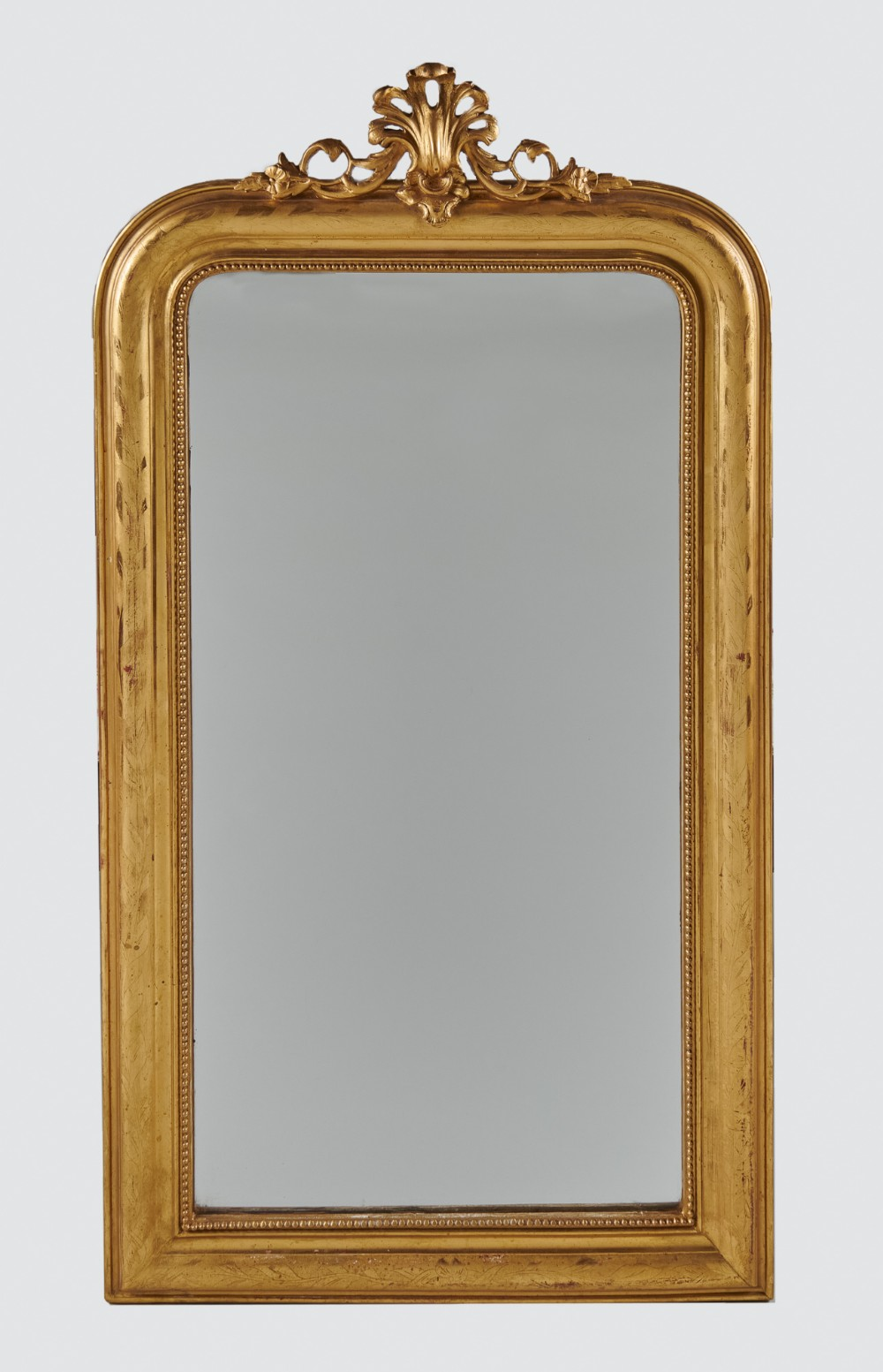 a really pretty 19th century french etched gilt overmantle mirror