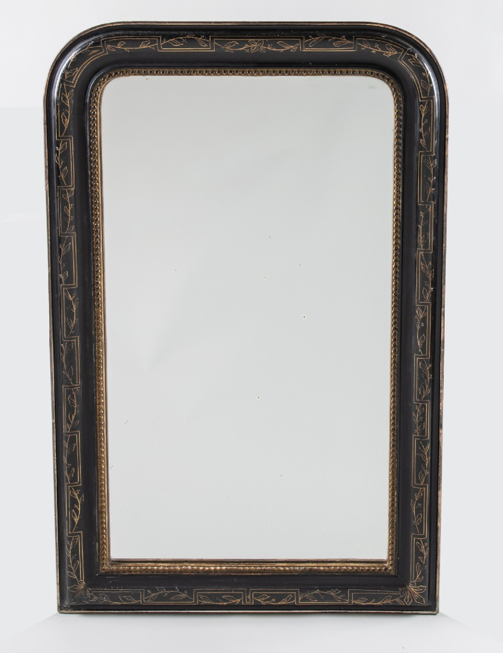 19th century large french ebonised and parcel gilt overmantle mirror