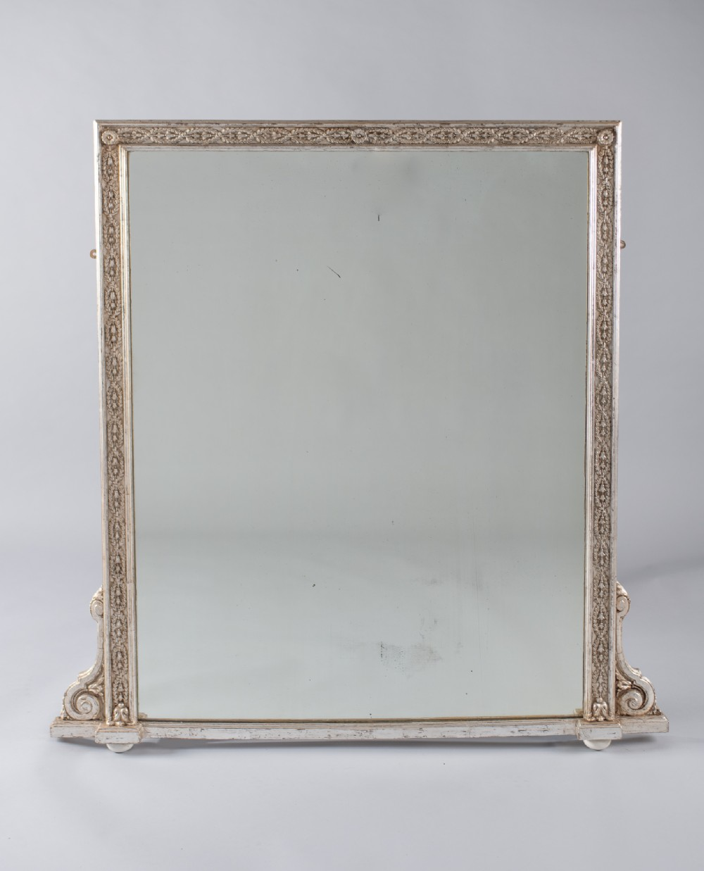 late 19th century large victorian english silvered overmantle mirror
