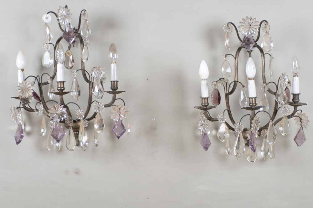 a pair of large french glass and silvered metal wall sconces