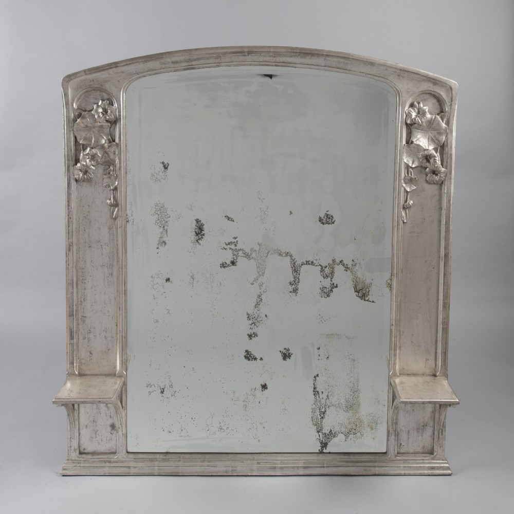 large french art nouveau silvered overmantle mirror