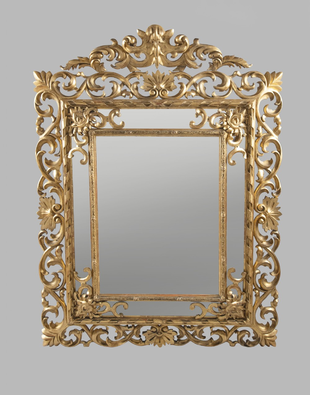 large 19th century french carved giltwood marginal overmantle mirror