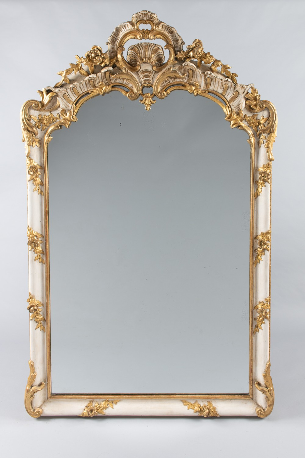 a 19th century large french painted and gilt overmantle mirror