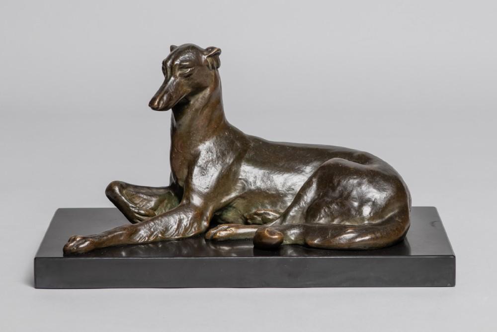 stunning art deco bronze sculpture of a dog