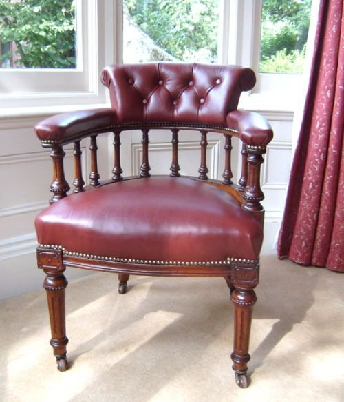 antique chair superb quality oak and leather desk chair or library chair - Antique Chair: Superb Quality Oak And Leather Desk Chair Or Library