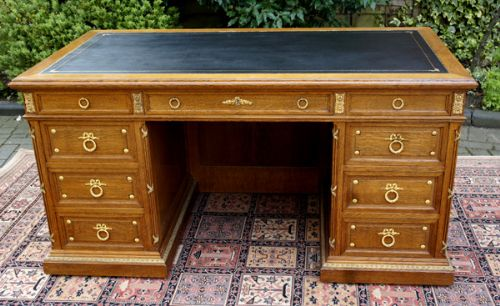 antique desk french oak and ormolu mounted pedestal desk - Antique Desk - French Oak And Ormolu Mounted Pedestal Desk