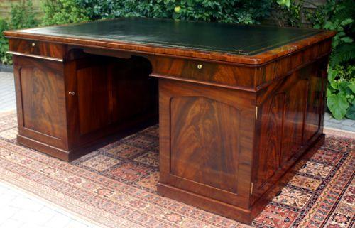 antique desk english antique william 1v mahogany partners library desk - Antique Desk - English Antique William 1v Mahogany Partners Library
