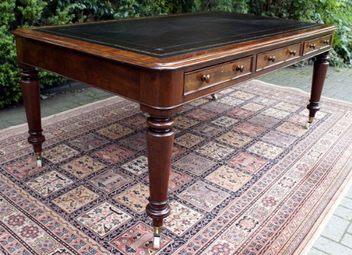 Large Antique William 1v Mahogany Partners Library Writing Table Or