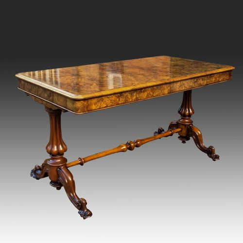 antique burr and figured walnut library table or sofa table