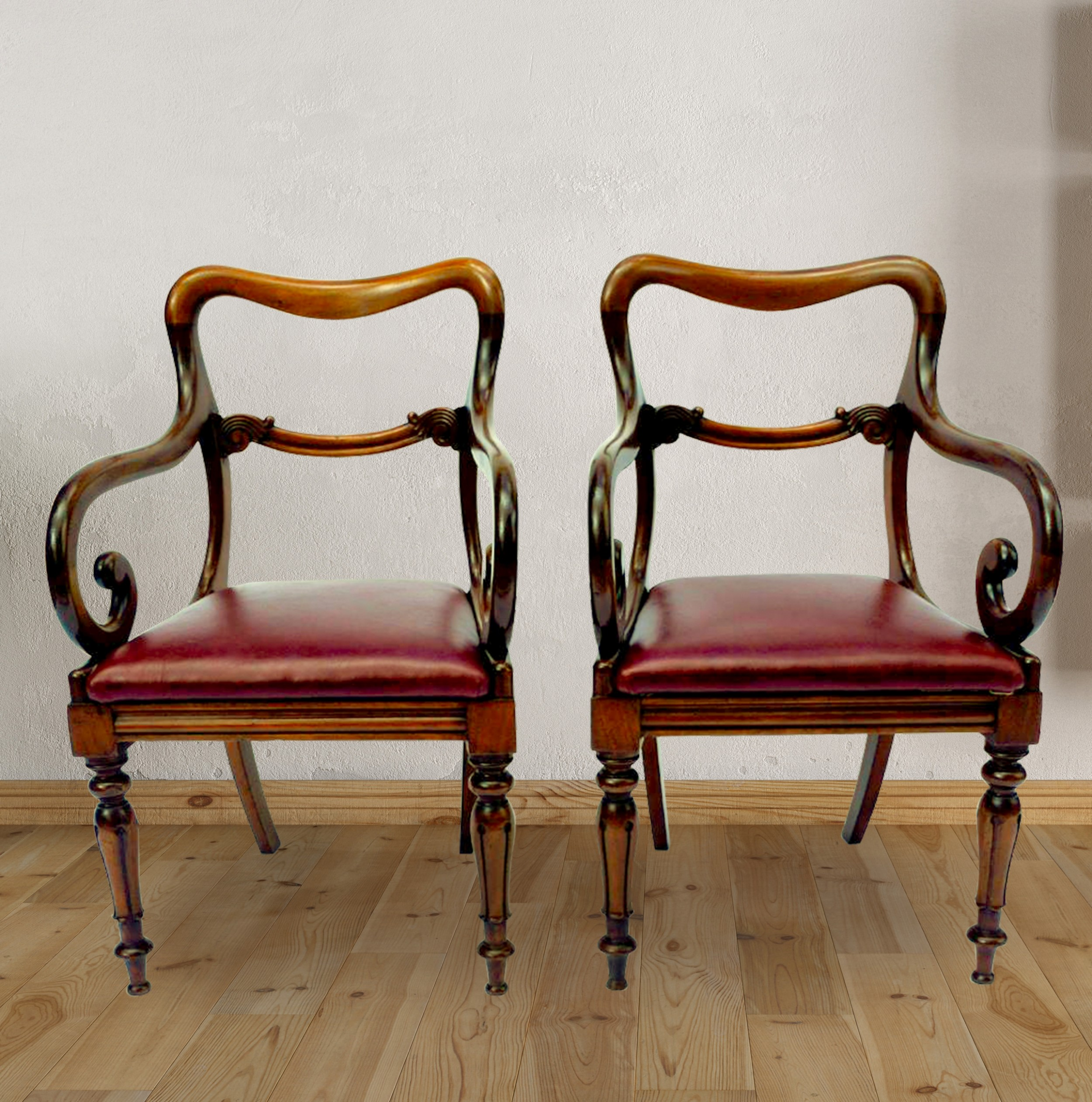 antique mahogany open armchairs or desk chairs circa 1840