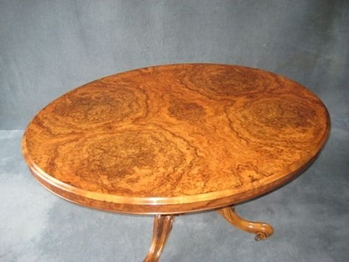 victorian burr walnut loo table - photo angle #3