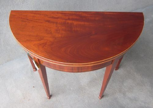 a mahogany demilune card table - photo angle #2