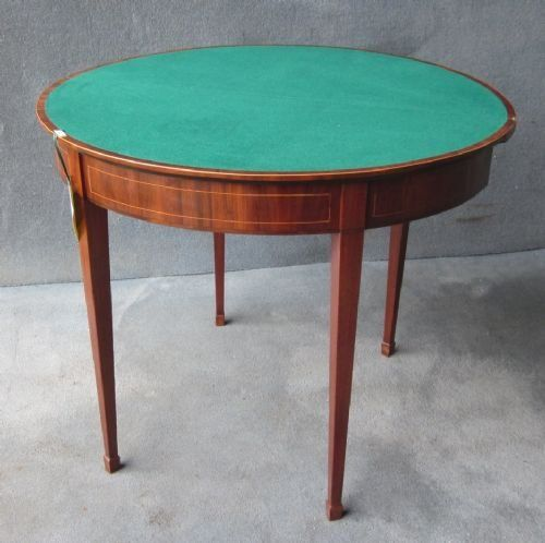 a mahogany demilune card table - photo angle #3