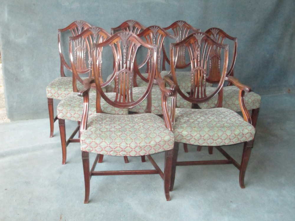set of 6 2 mahogany hepplewhite style shield back chairs