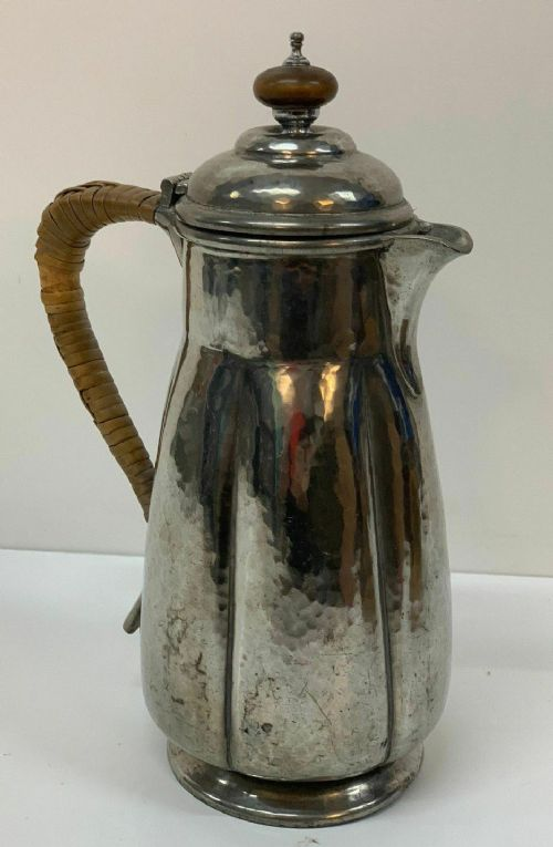 liberty co hammered pewter coffee pot jug rattan handle antique