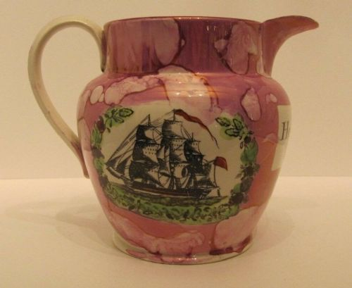 sunderland pink lustre ware jug antique pottery ship henderson c 1840 nautical