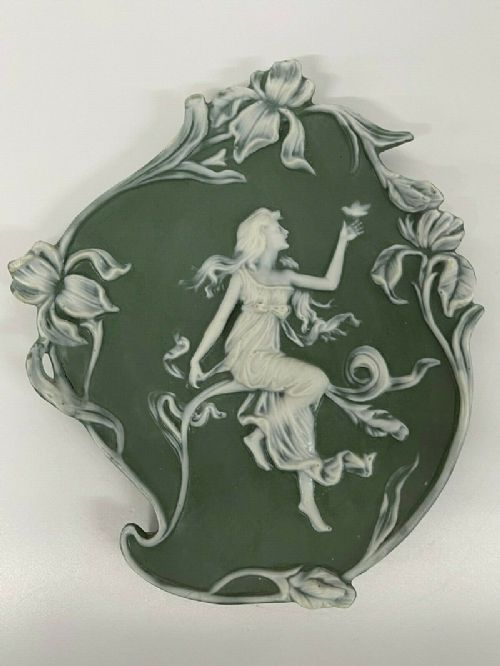 sage jasperware cherub ceramic wall plaque antique green shafer vater oval