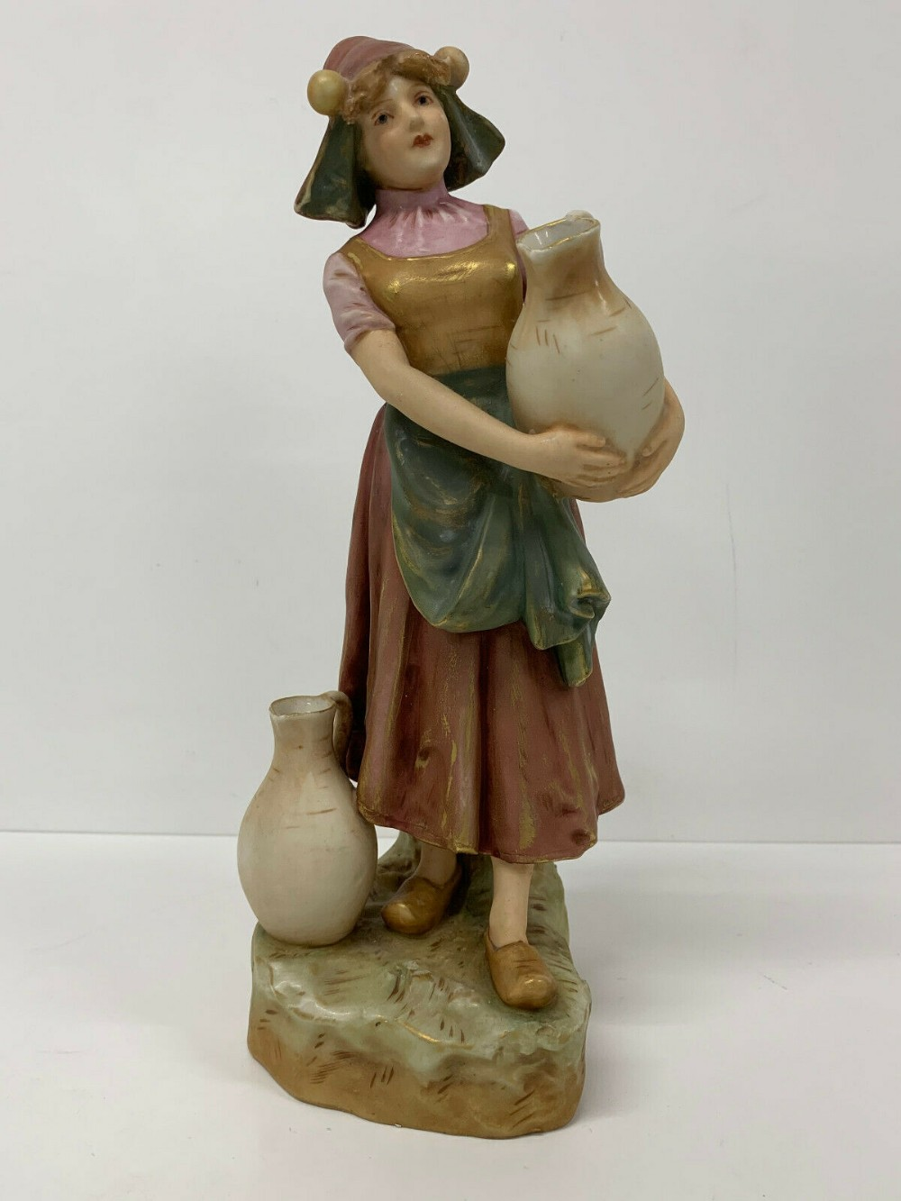antique royal dux figure of a water carrier figural young girl