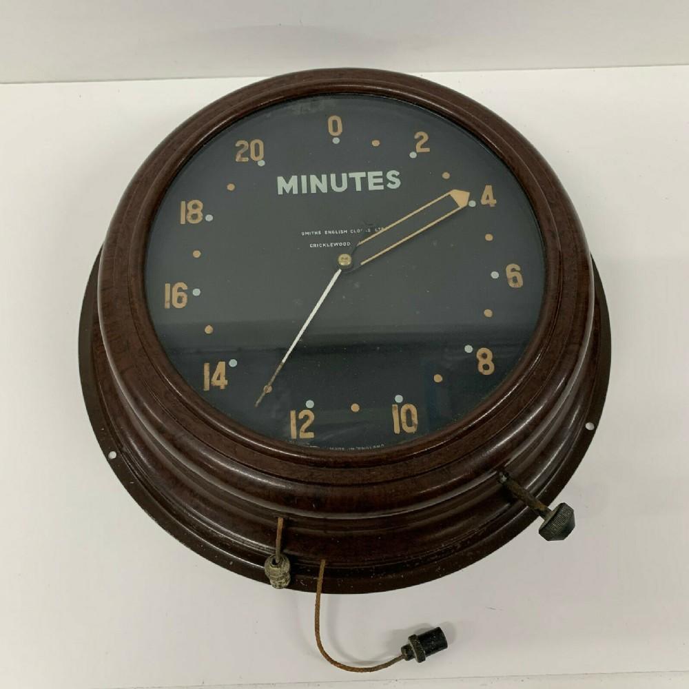 1950s smiths mid century vintage industrial factory bakelite wall clock alarm