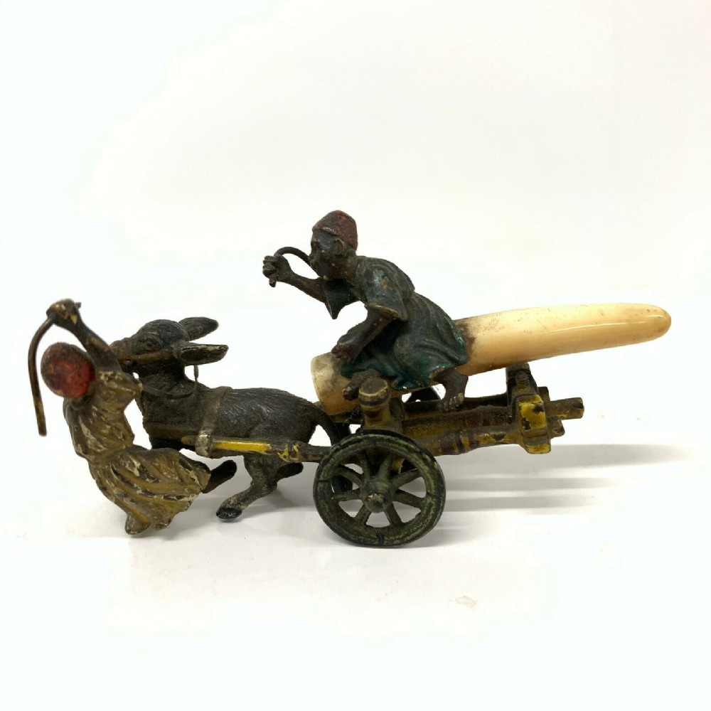 antique cold painted vienna bronze style bergman arab group cart whipping donkey
