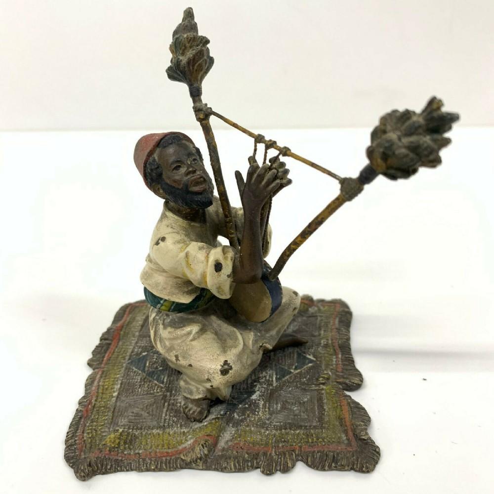 antique cold painted vienna bronze style bergman arab carpet musical instrument