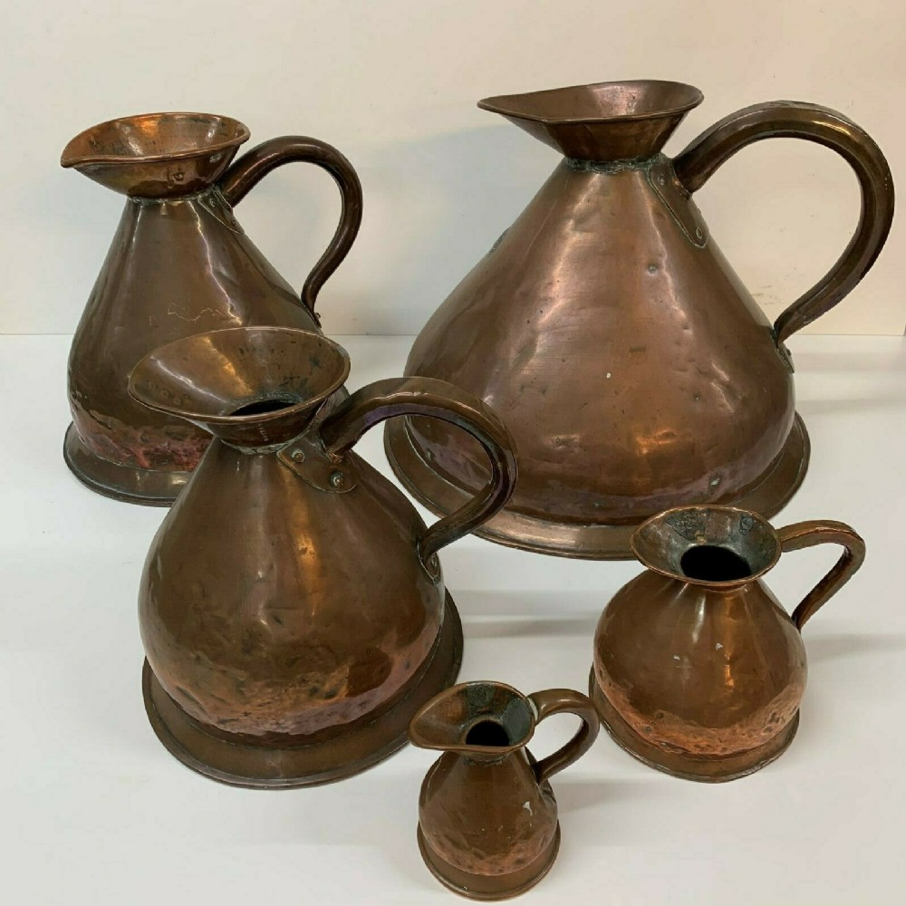 victorian antique set 5 graduated copper haystack measure jugs 4 gall quart