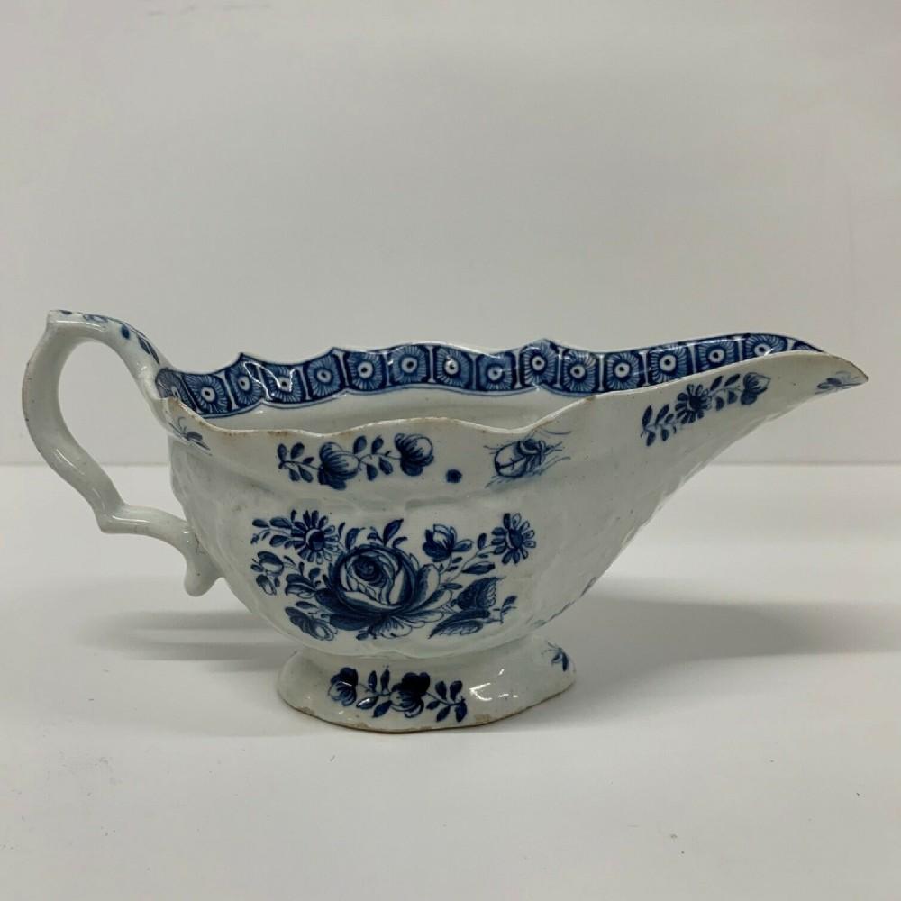 antique bow porcelain sauceboat c1770 blue white