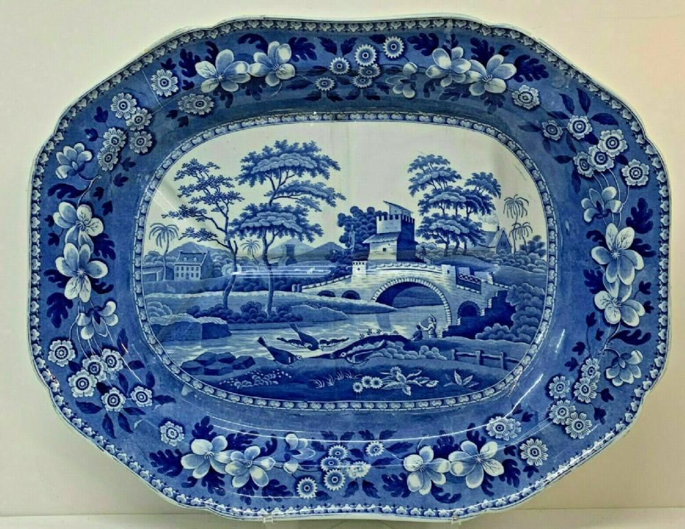 antique copeland spode blue white x large meat platter tree gravy well spode 1