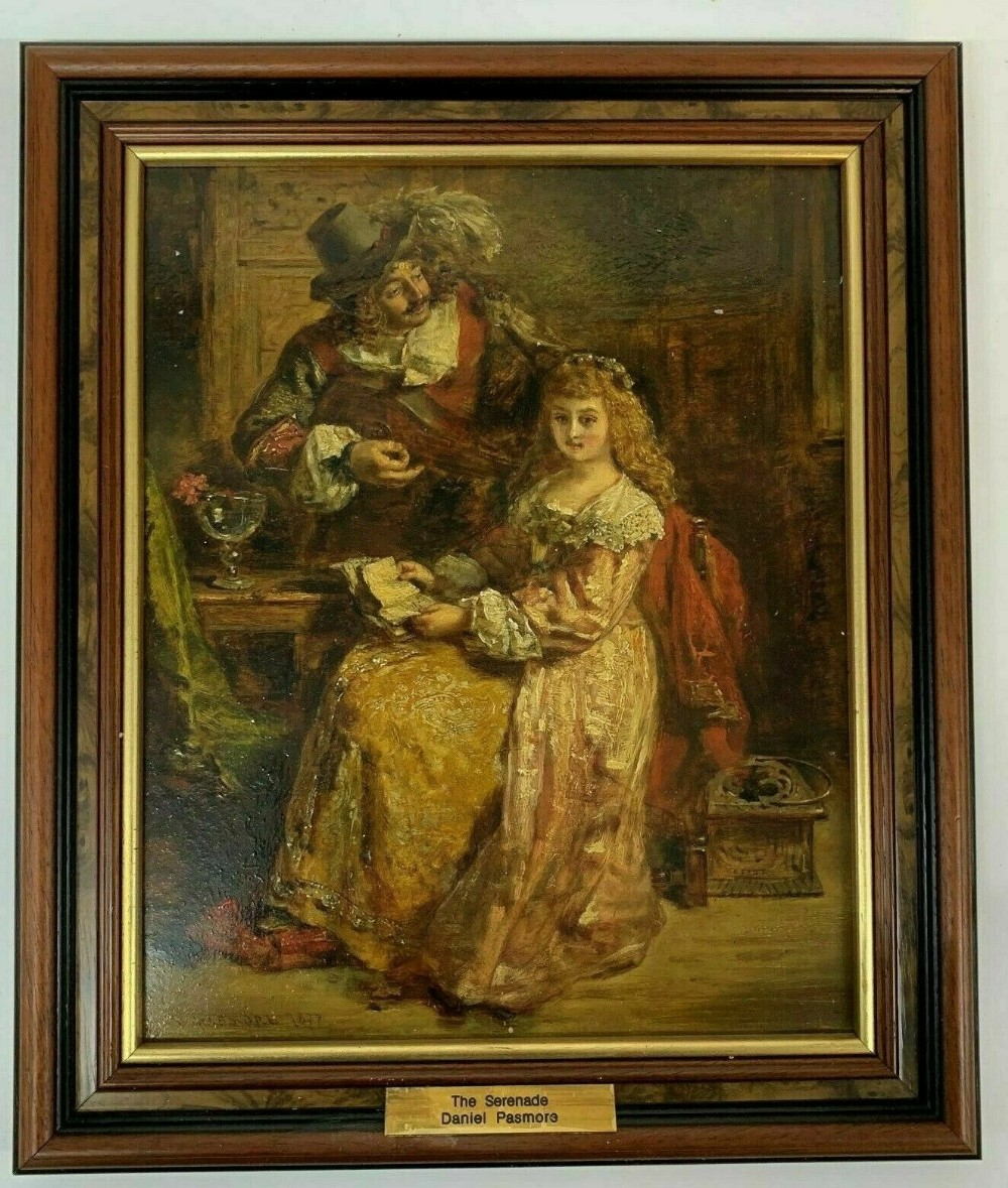 antique oil painting daniel pasmore picture the serenade signed 1815 1893