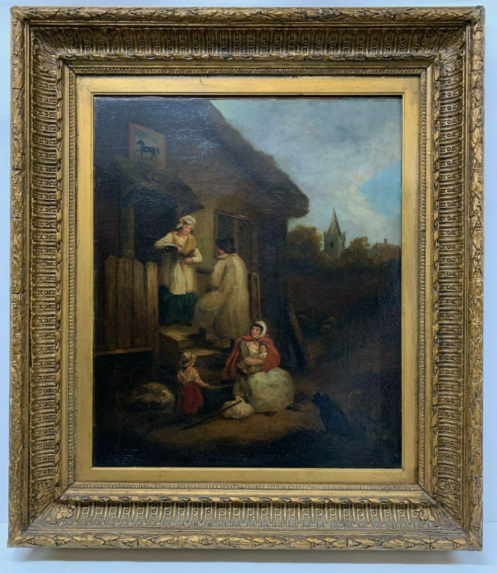 oil on canvas painting picture after george morland the dram framed 17631804