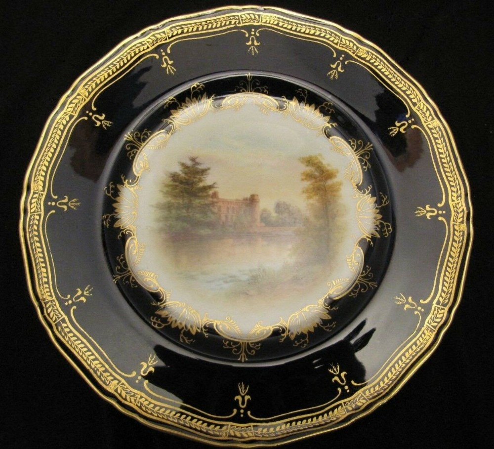 royal worcester landscape plate antique c1902 warwick castle signed stinton