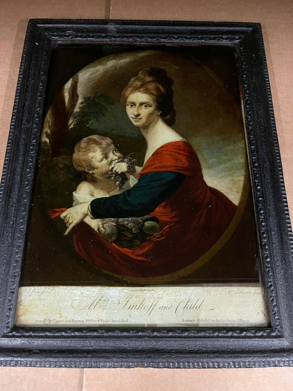 antique 18th century reverse print painted on glass georgian lady picture