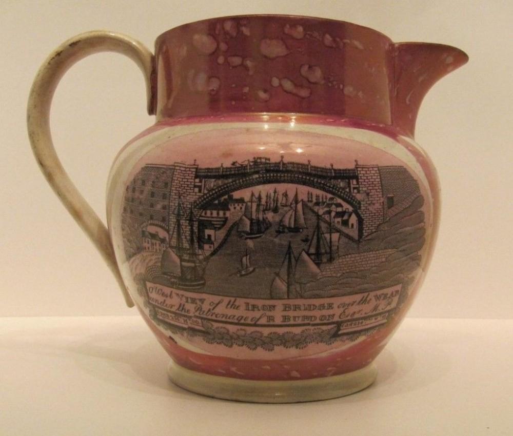 sunderland pink lustre ware jug antique pottery crimea farmers excellent