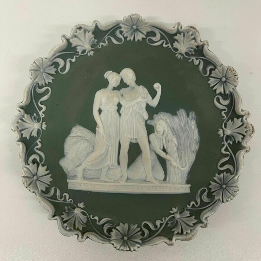 antique wall plaque green sage jasper ware classical scene schafer vater
