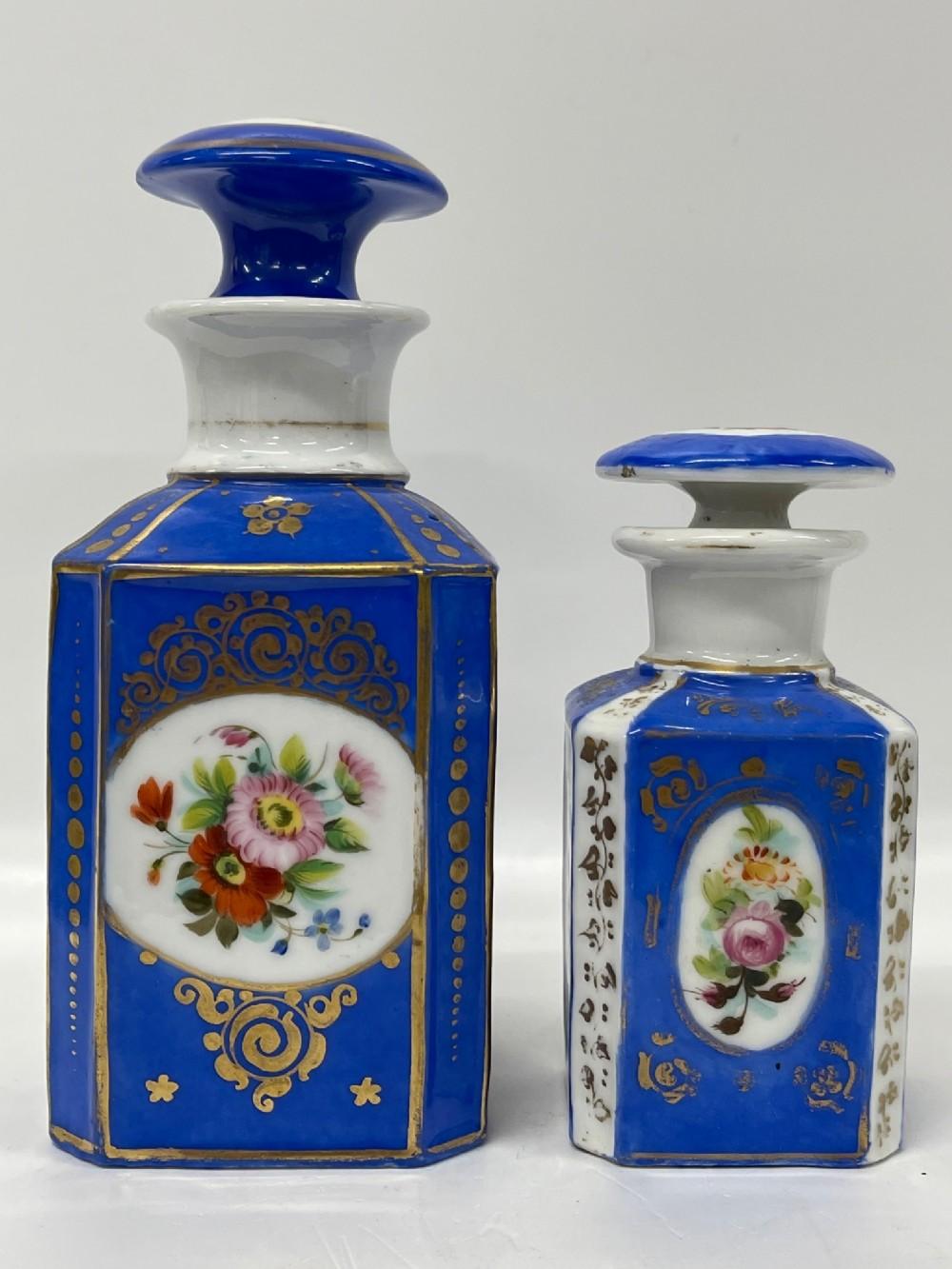 antique french porcelain perfume bottle cannister octagonal blue gold x 2