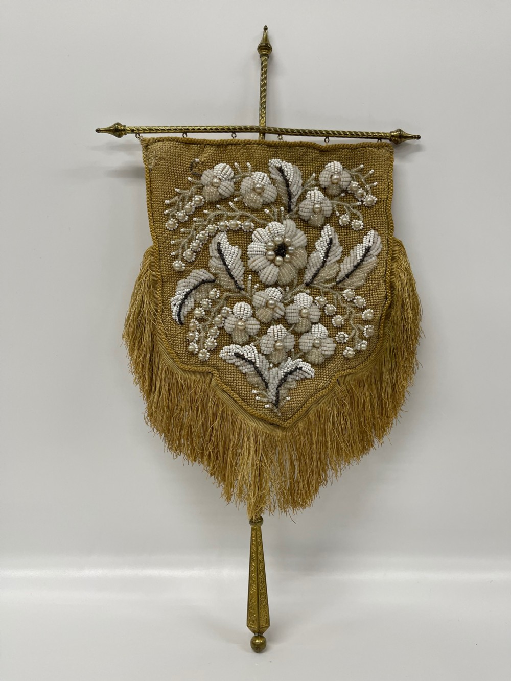 antique victorian beadwork gold yellow embroidered face screen brass pole