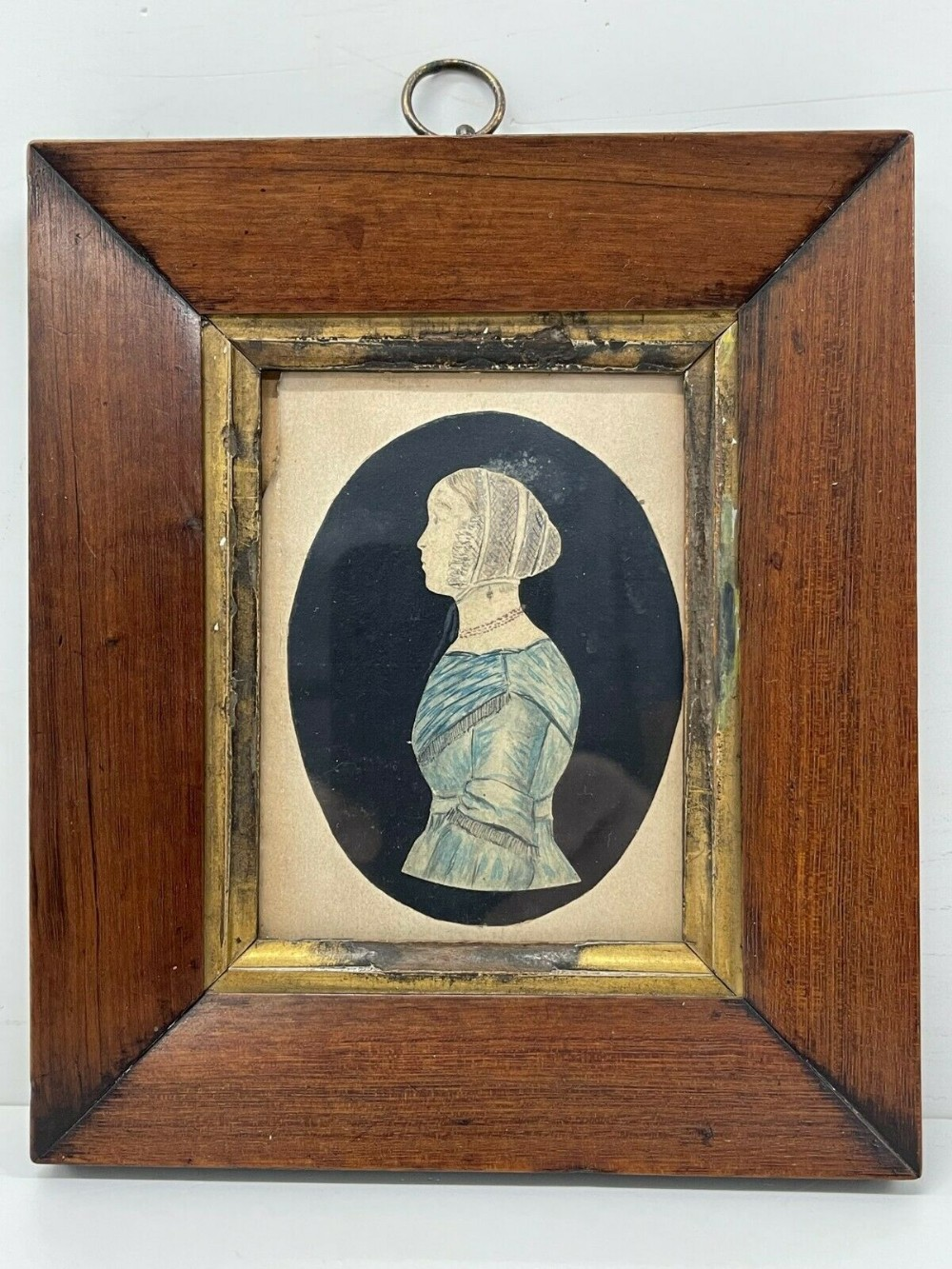 antique miniature picture painting portrait victorian young girl framed 19th c