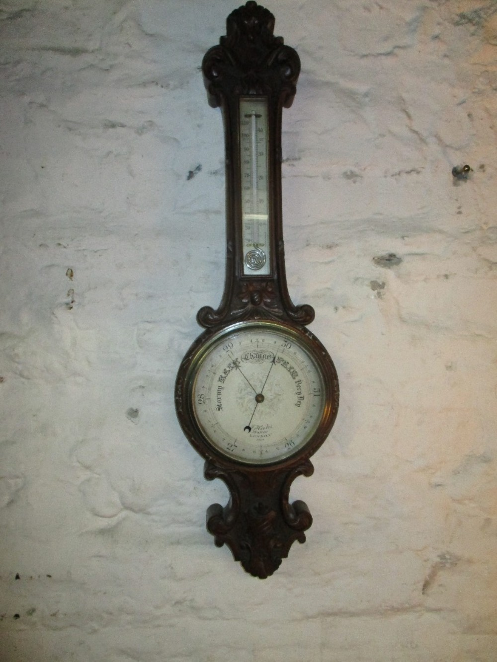 oak cased aneroid barometer
