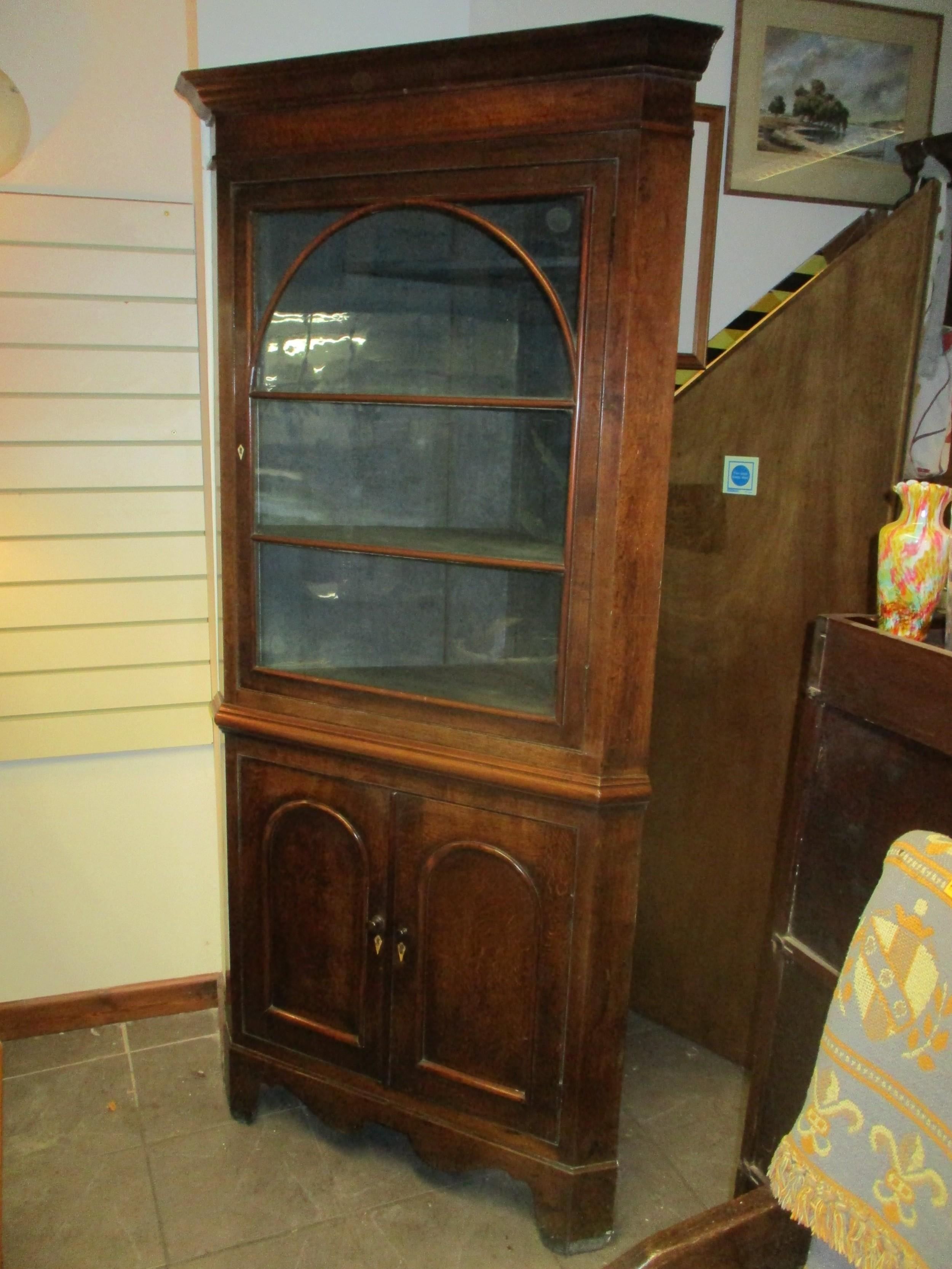 welsh oak corner cupboard