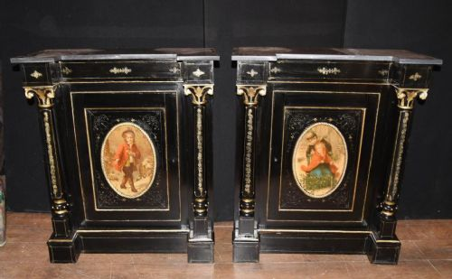 pair antique french cabinets ebonized painted plaques credenza sideboard