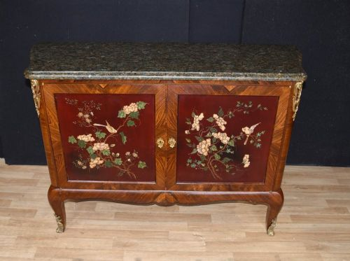 Antique French Cabinet Commode Lacquer Marquetry Inlay 1880