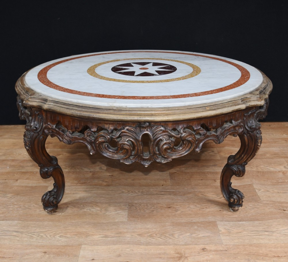 Vintage French Provincial 40 Round Marble Top Coffee: Carved Italian Rococo Coffee Table Round Marble Top