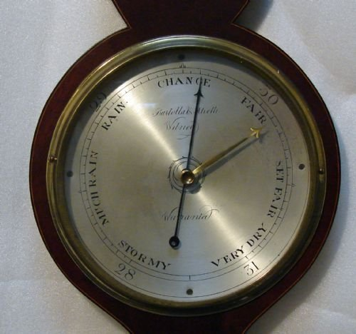 antique inlaid wheel barometer - photo angle #2