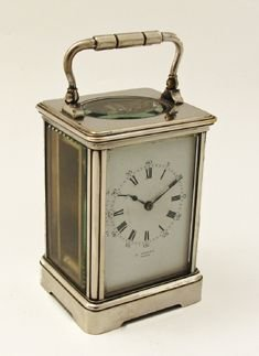 silver plated drocourt carriage clock timepiece - photo angle #2