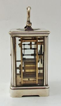 silver plated drocourt carriage clock timepiece - photo angle #3