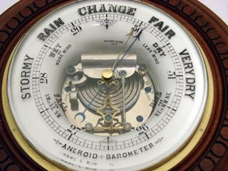 unusual ceramic and walnut barometer dated 1890 - photo angle #2