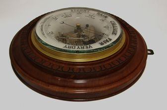 unusual ceramic and walnut barometer dated 1890 - photo angle #3