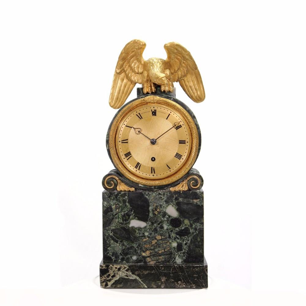 green marble mantel clock by benjamin vulliamy